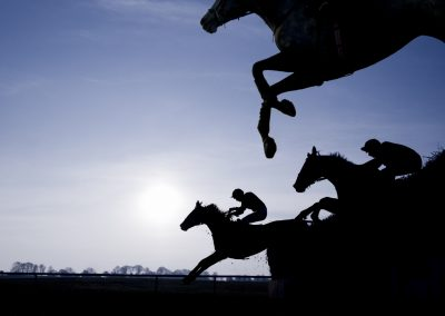 Silhouette of Race Horses Jumping a Fence